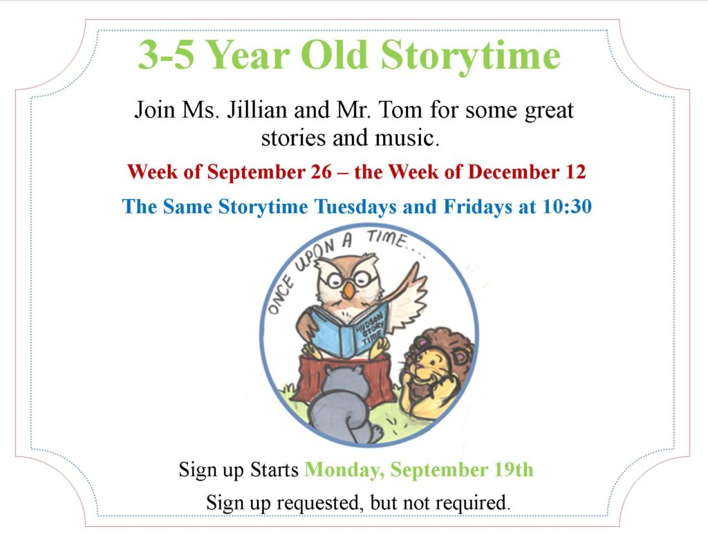 3-5 Year Old Storytime
